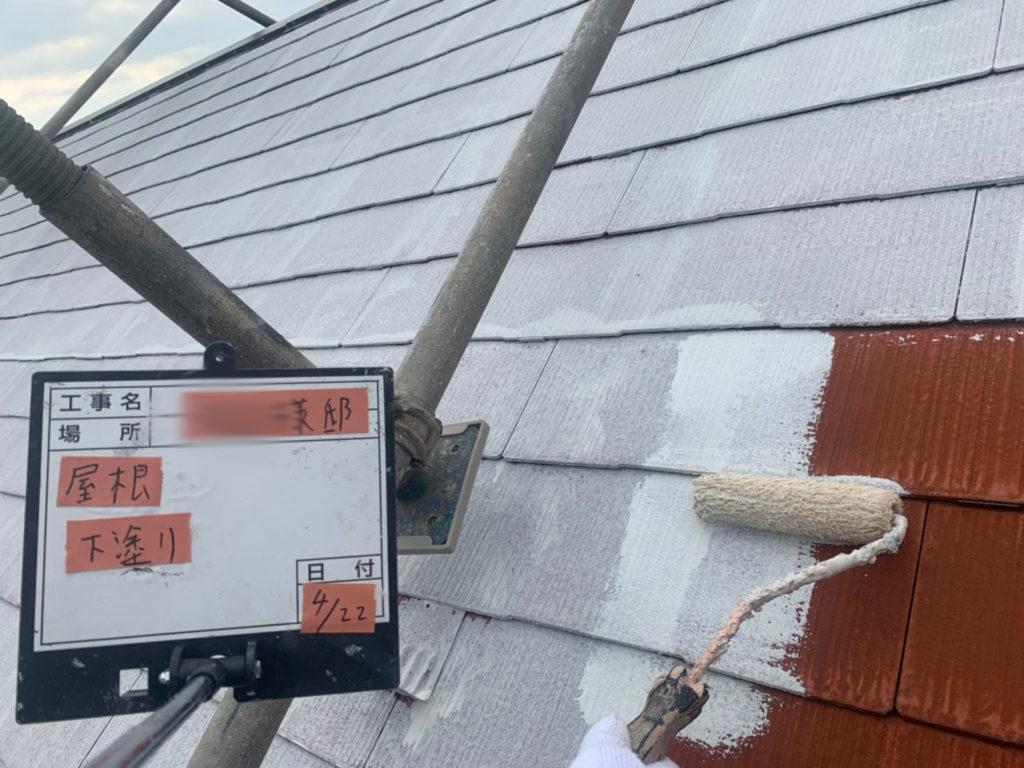 横浜市港南区の外壁塗装の屋根塗装下塗り施工