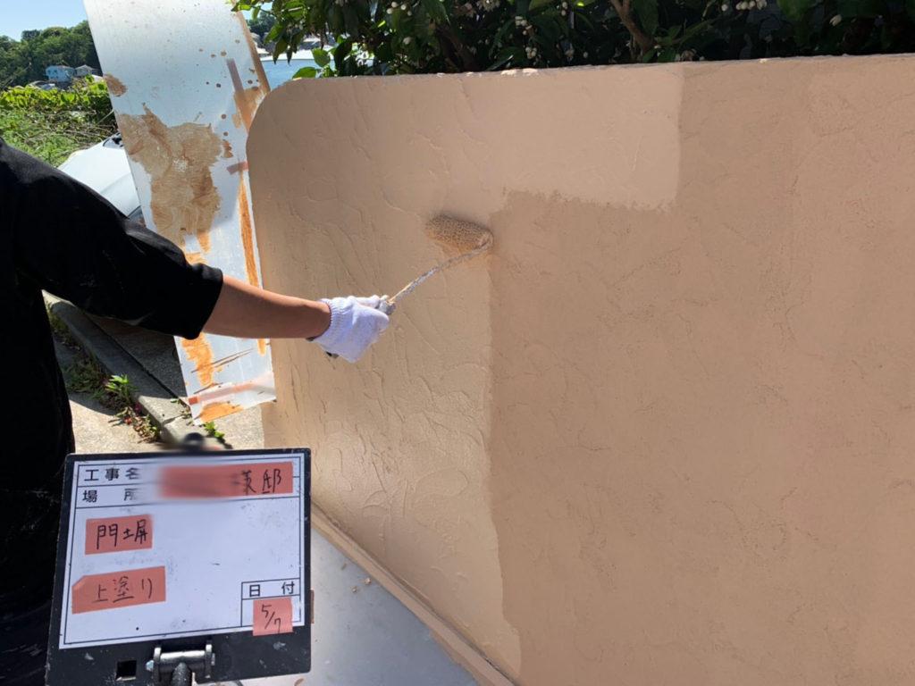 横浜市港南区の外壁塗装の門塀上塗り施工